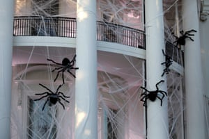 Halloween decorations at the White House in Washington, U.S.