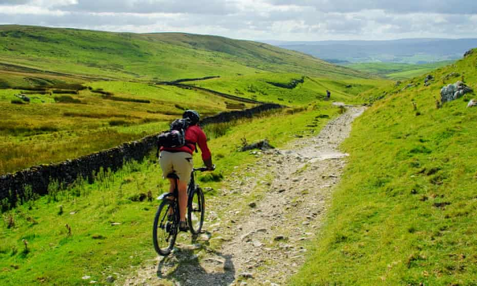 A cyclist near Settle in the Yorkshire Dales.