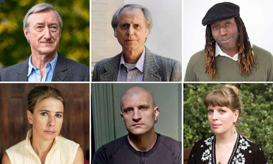Composite: Authors Julian Barnes, Don DeLillo, Kei Miller, Sarah Perry, China Miéville and Lionel Shriver