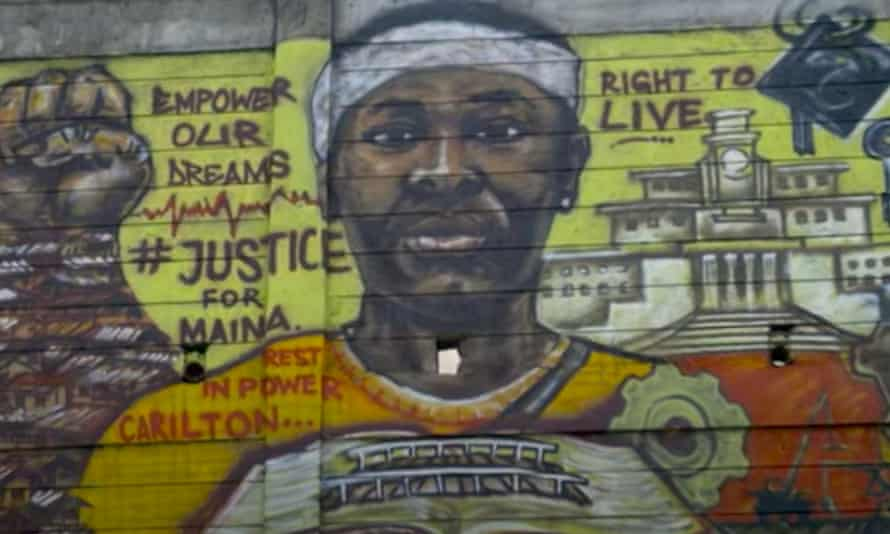A mural calls for justice for student Carilton Maina, who was shot dead in Nairobi in 2018