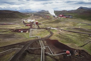 Geothermal wells and pipes in Krafla power station, in northern Iceland
