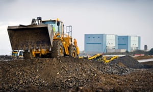 Earthworks in preparation for the construction of EDF's Hinkley Point C nuclear power station.