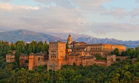View of the Alhambra, Granada, with mountains in background