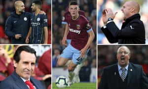 Pep Guardiola with Riyad Mahrez, Declan Rice, Sean Dyche, Rafael Benítez and Unai Emery