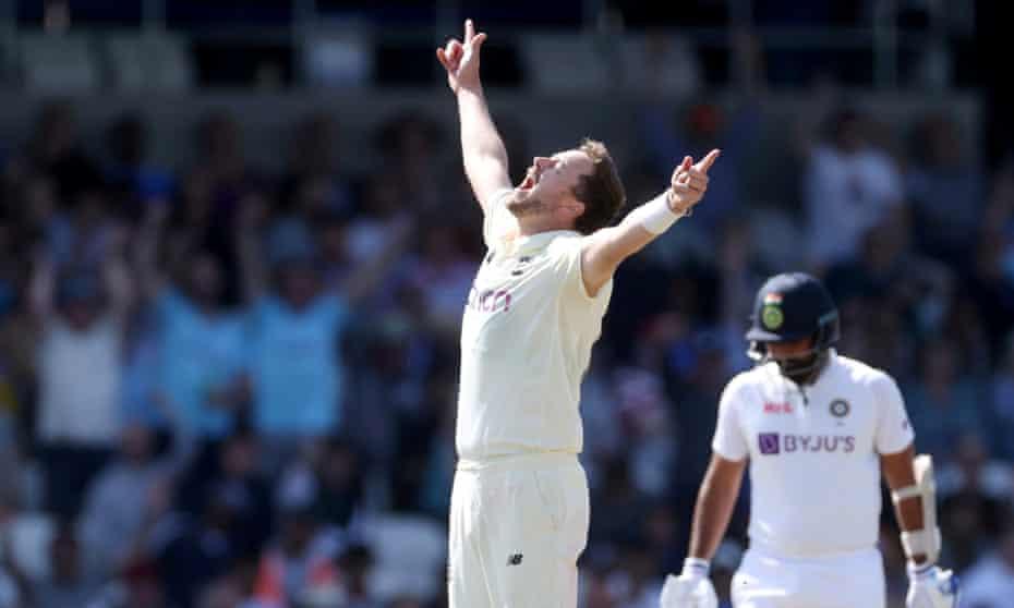 Ollie Robinson celebrates taking the wicket of Ishant Sharma.