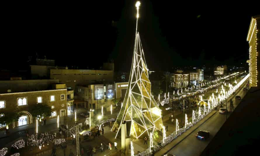 A Christmas tree stands in Byblos, north of Beirut.