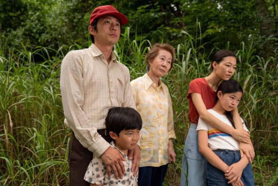 Steven Yeun, Alan S Kim, Youn Yuh-jung, Yeri Han and Noel Cho as the three generations of the Yi family in Minari.