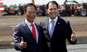 Foxconn chairman Terry Gou, left, and Wisconsin governor Scott Walker at the project's groundbreaking ceremony.Walker has helped roll back federal air pollution limits in the area.