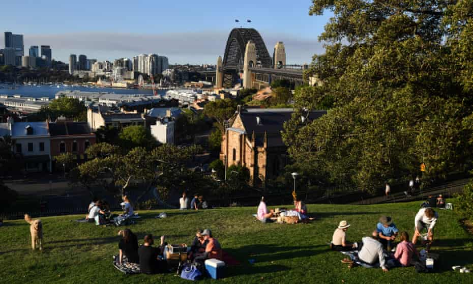 Locals gather at Observatory Hill in Sydney after picnic restrictions were lifted by the NSW government.