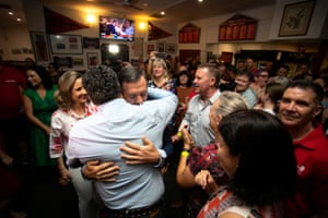 Michael Gunner arrives at Labor's election headquarters in Darwin on Saturday.