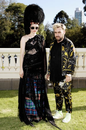 During the design process, most of the creations are fitted on Anna Plunkett to see how they fit and fall. They also often wear their own creations to events, and here the pair attend the opening night party for the 2010 Melbourne fashion festival at Government House.
