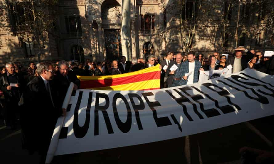Lawyers and attorneys gather outside Catalonia's supreme court in support for the banned independence referendum in Barcelona.