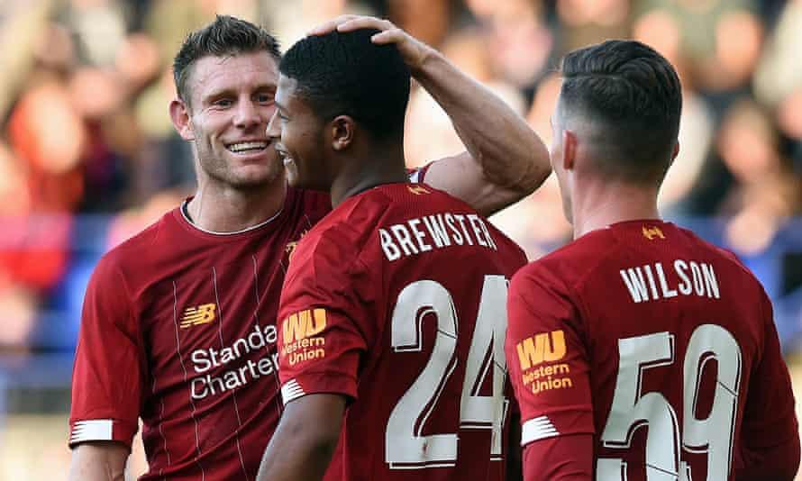 Rhian Brewster (centre) scored twice on his first senior start for Jürgen Klopp's Liverpool.