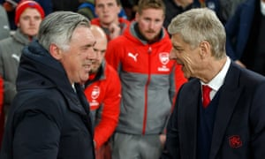 Arsène Wenger with Carlo Ancelotti in March 2017, when Bayern Munich played Arsenal in the last 16 of the Champions League
