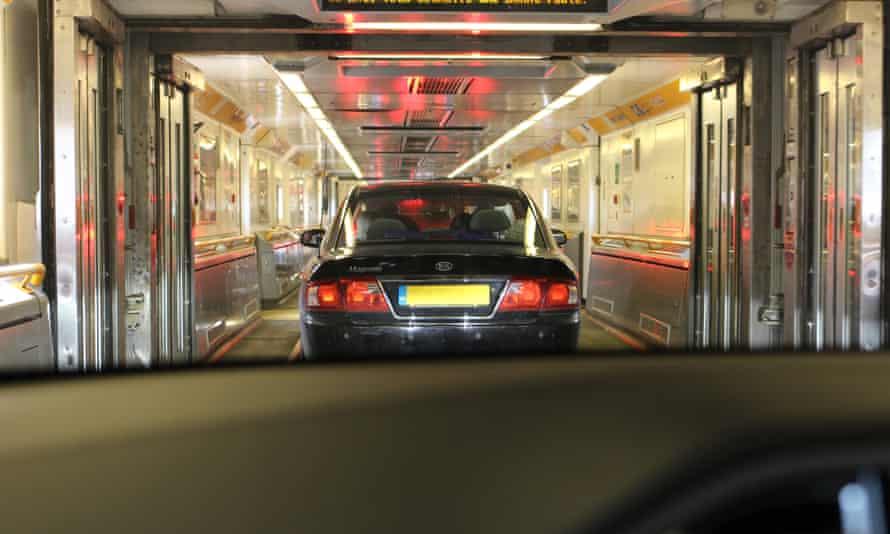 tesla model s in the eurotunnel