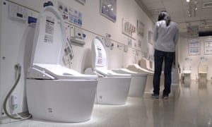 Japanese toilets are seen on display at the Toto sanitary equipment showroom in Tokyo, in this still image taken from a video