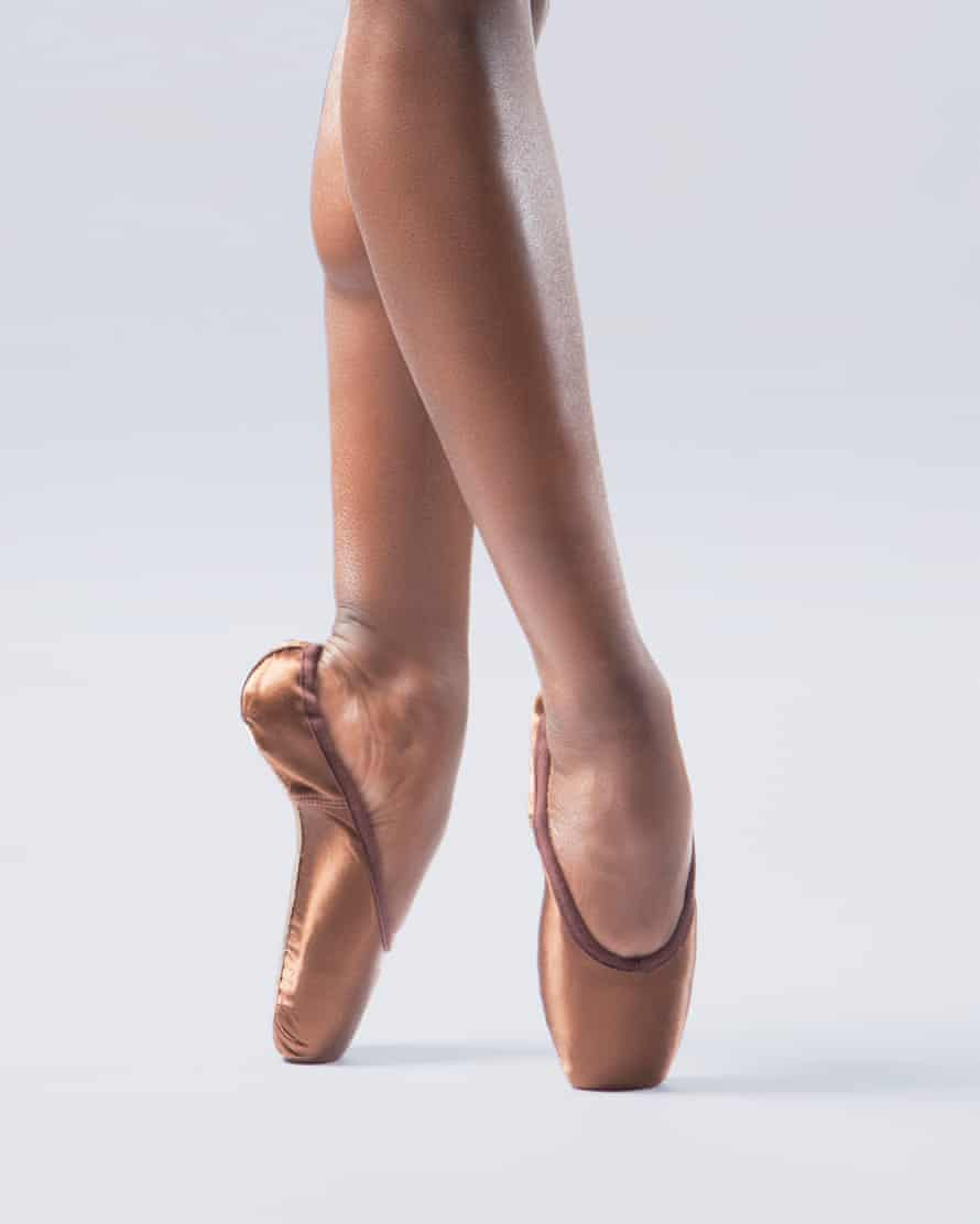 A pair of the UK's first skin-tone pointe shoes for Black, Asian and dual-heritage dancers, as worn by Cira Robinson