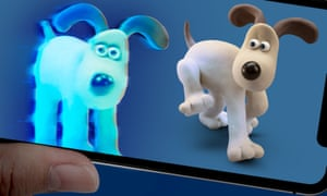 The real Gromit meets his holographically augmented counterpart.