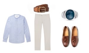 Shirt, £205, Officine Generale, matchesfashion.com, slim fit cotton trousers, £110, reiss.com, Tasselled leather loafers, £49.99, hm.com, Woven belt, £18, riverisland.com, ring, £166, wolfandbadger.com