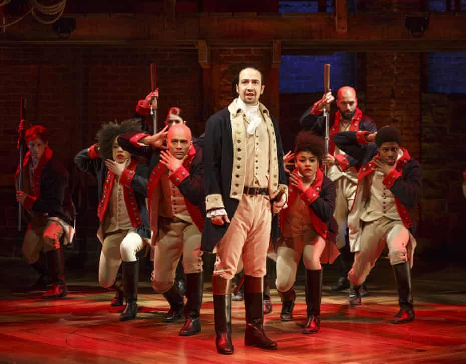 Lin-Manuel Miranda performs with members of the cast of the musical Hamilton in New York.