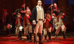 Lin-Manuel Miranda, centre, in the original Broadway production of Hamilton, is hoping the show will find a diverse audience in London.