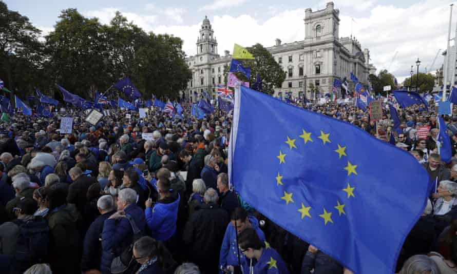 Anti-Brexit protest march, 2019, London, calls for another referendum on Britain's EU membership