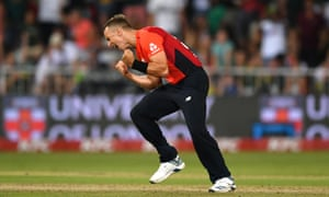 Tom Curran celebrates the final wicket after he bowled three fine yorkers as England snatched T20 victory over South Africa.