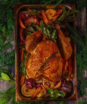 Roast turkey, chestnut and sausage stuffing, and gravy