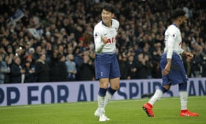 Heung-Min Son of Tottenham Hotspur celebrates after scoring his team's first goal at their new stadium.