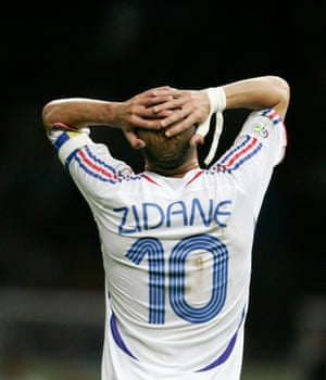 Zidane reacts after his header was saved by Gianluigi Buffon.