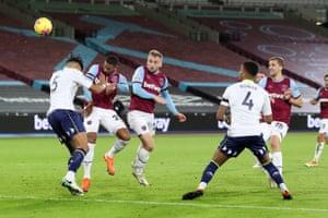 West Ham's Jarrod Bowen steers a header into the far corner of the net.