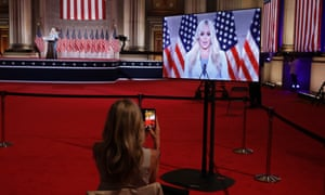 Tiffany Trump, the daughter of Donald Trump, gives her address to the Republican national convention.