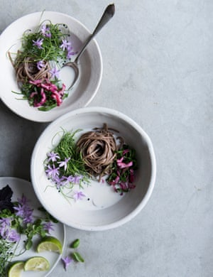 Coconut broth with buckwheat noodles and lime