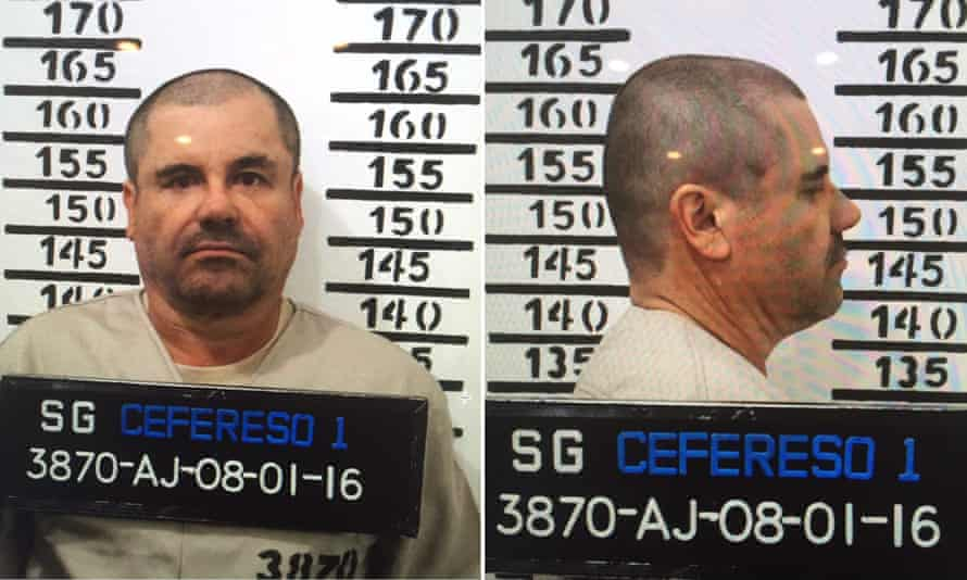 The prison booking picture of Joaquin 'El Chapo' Guzman in Mexico City. He is on constant watch after escaping in 2015.