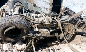 Wreckage after the Mogadishu bombing in which at least 79 people died.