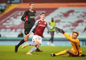 Louie Barry scores Aston Villa's equaliser.