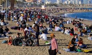People on Barcelona beach on 2 April.