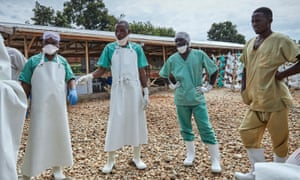 Health workers receive a briefing at an Ebola treatment facility in Beni, in North Kivu province, Democratic Republic of the Congo, 4 May 2019