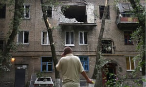 A damaged block of flats after shelling in Donetsk, Ukraine, in June.