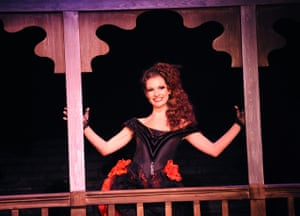 Lily James in Curtains, Guildhall School of Music and Drama, London, 2010.