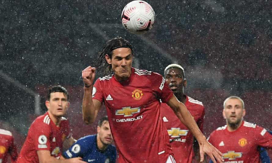 Edinson Cavani gets in a header after coming on in the second half to make his Manchester United debut against Chelsea.