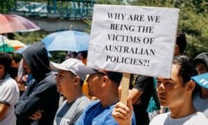 Refugees and asylum seekers demonstrating in front of UNHCR, Makassar, Indonesia