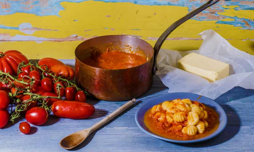 Tomato sauce with onion and butter (with potato gnocchi), The Essentials of Classic Italian cooking, Marcella Hazan