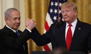Trump launches his peace plan with Israeli prime minster Benjamin Netanyahu at the White House on Tuesday.