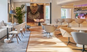 A portrait in the lobby of Hotel Zena, conceived by Andrea Sheehan and produced by Julie Coyle Studios, and made of 20,000 hand-painted organic tampons, depicts Ruth Bader Ginsburg.