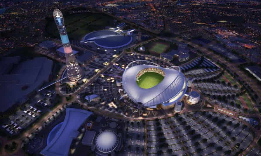 A computer generated image of the Khalifa International Stadium in Doha after its renovation for the 2022 World Cup.