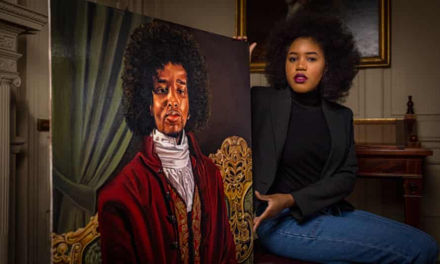 Artist Glory Samjolly with her painting of James Chappell