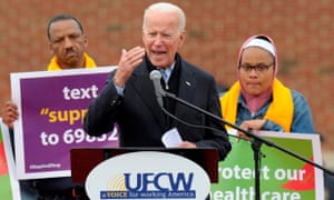 Joe Biden speaks at the Stop & Shop in Dorchester, Massachusetts on 18 April.