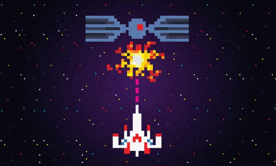 llustration of Space Invader-style space battle