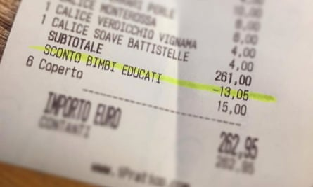 The 5% discount shown on the restaurant bill of a well-behaved family